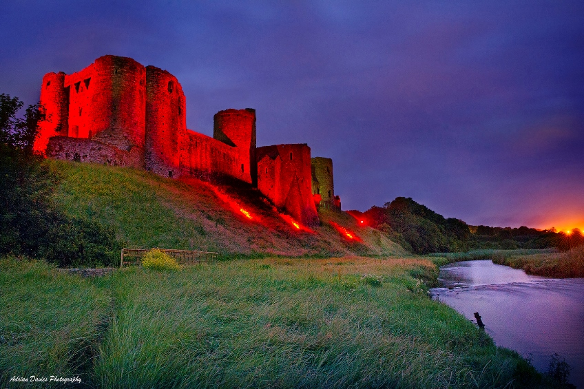 Cydweli Castle lit up in red to celebrate Wales' Euro 2016 sucess