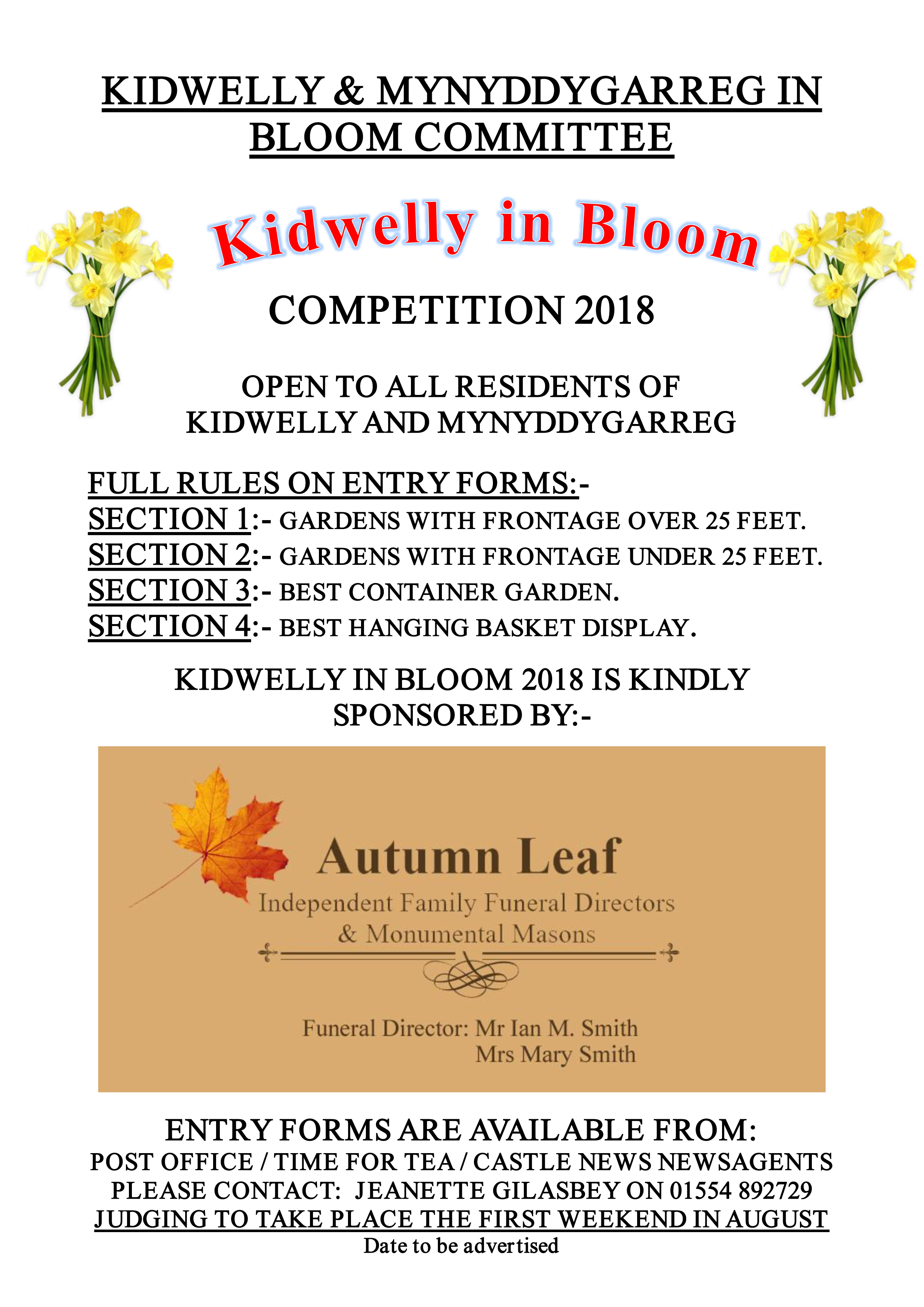 Kidwelly in Bloom Competition 2018