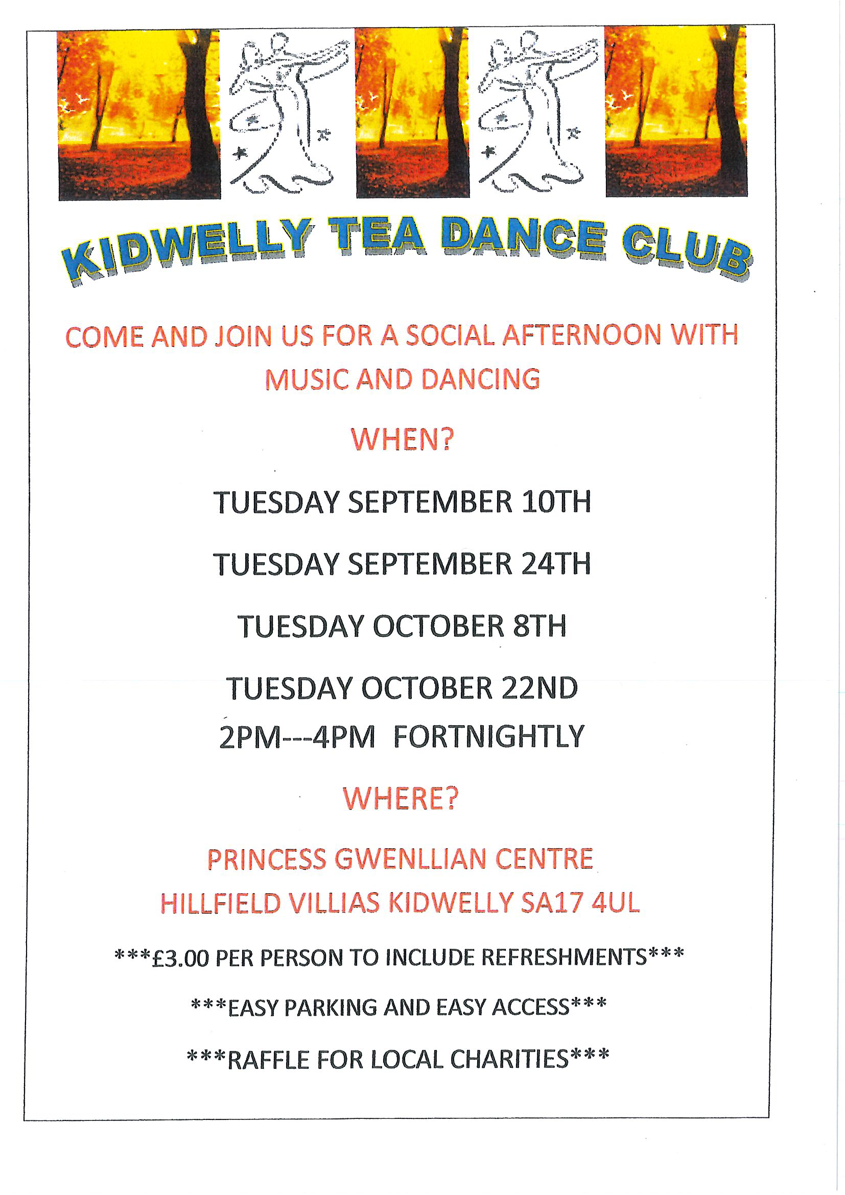 Tea Dance dates for September and October 2019